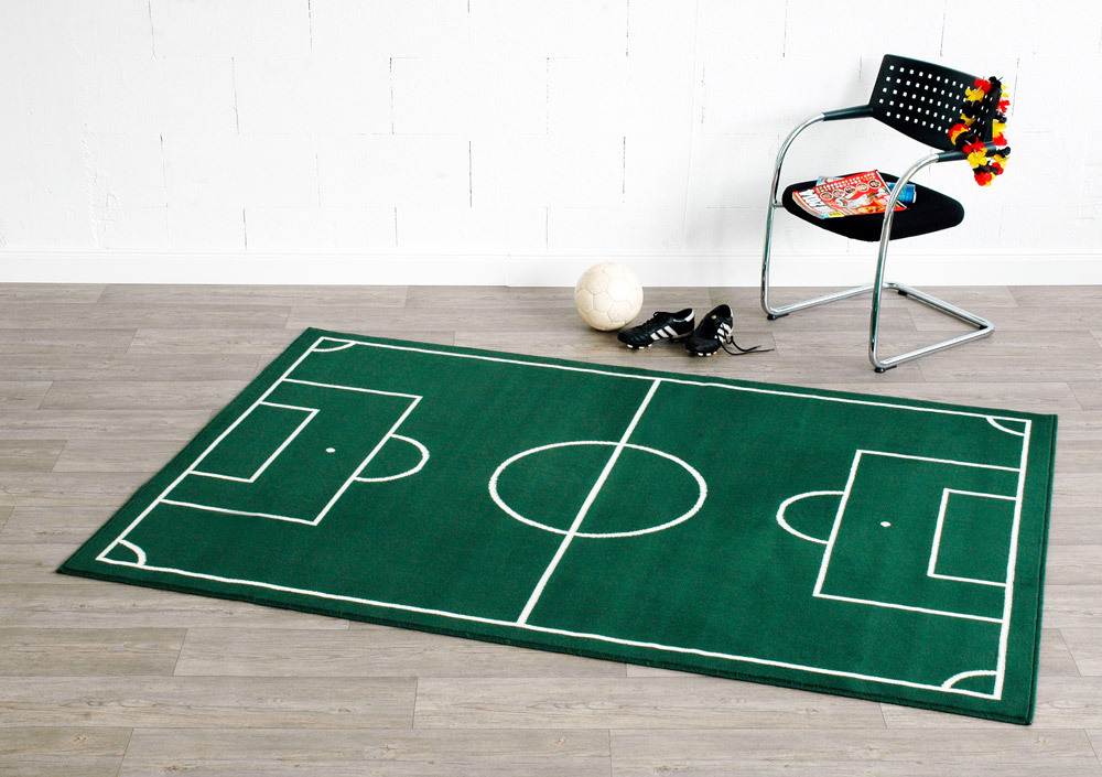 Design Velours Teppich Fußballplatz